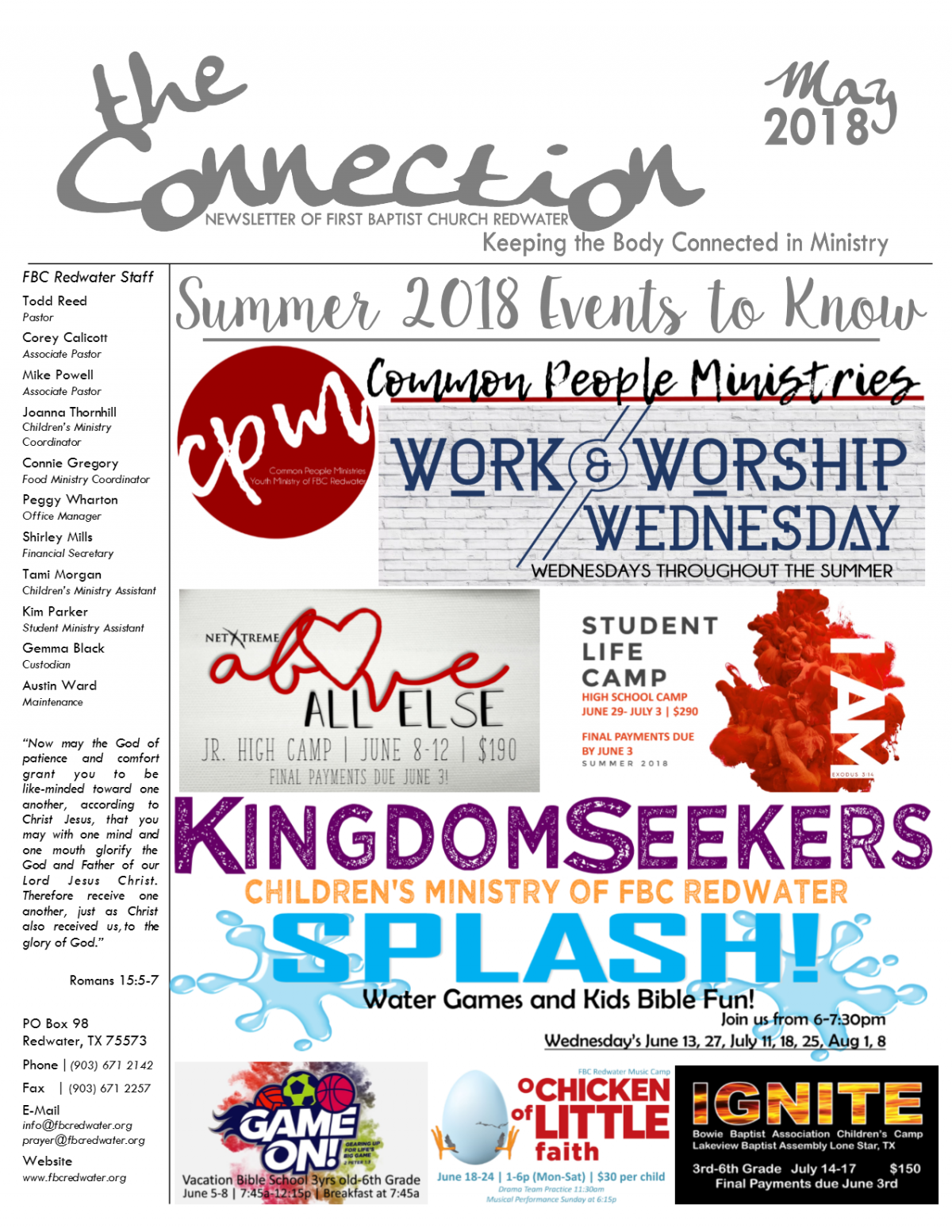 The Connection: May 2018 – First Baptist Church, Redwater Texas