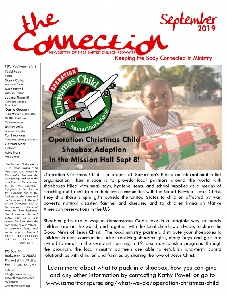 Operation Christmas Child 2019 Flyer.The Connection September 2019 First Baptist Church